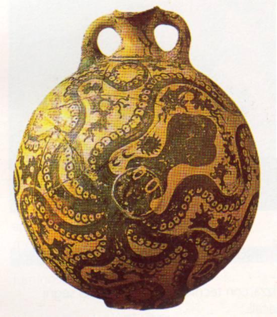 Vaso cretese con decorazione marina